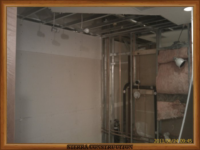 In the left a bathroom remodel, texture change from knock 