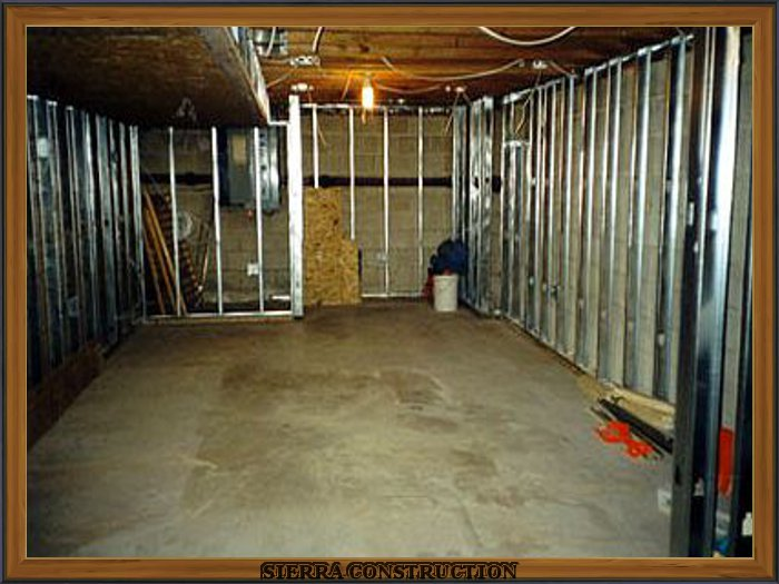 In the left basement been framed using steel studs.