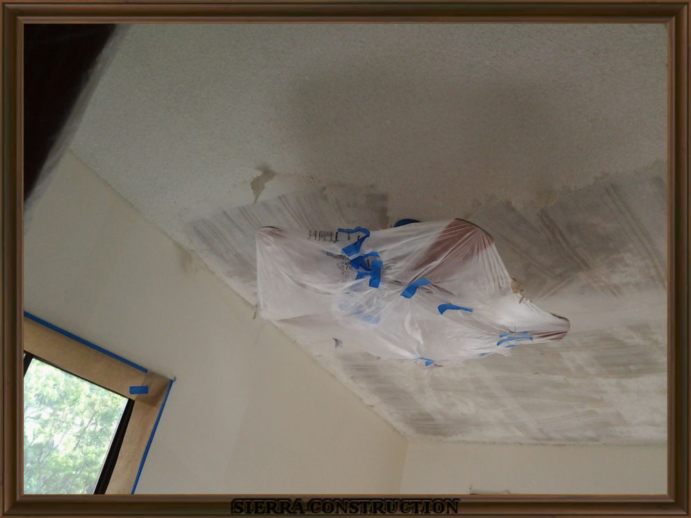 Picture showing popcorn ceiling removal.